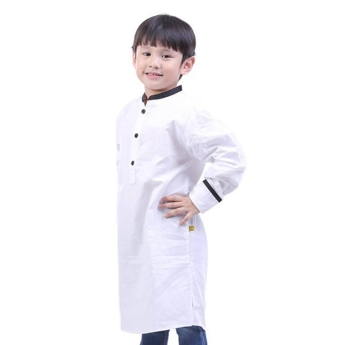 Baju Koko Muslim Anak Laki-Laki Black Neck Jubah Muslim Katun Putih - Putih