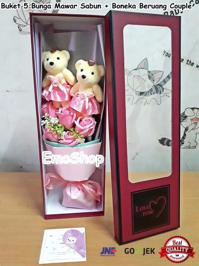 Jual Buket 5 Bunga Mawar Sabun Boneka Beruang Couple kado ultah ... 9115be04ab