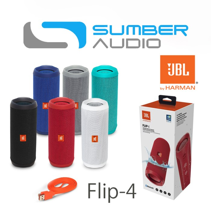 JBL Flip 4 ( Flip4 ) Waterproof Portable Bluetooth Speaker - Hitam