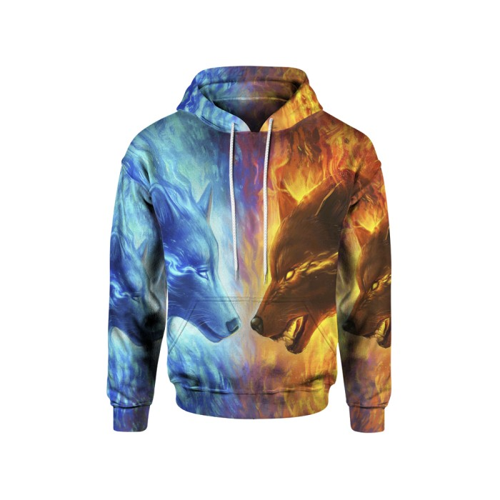 Jaket hoodie sweater pria anime wolf  3d fullprint pullover art 2