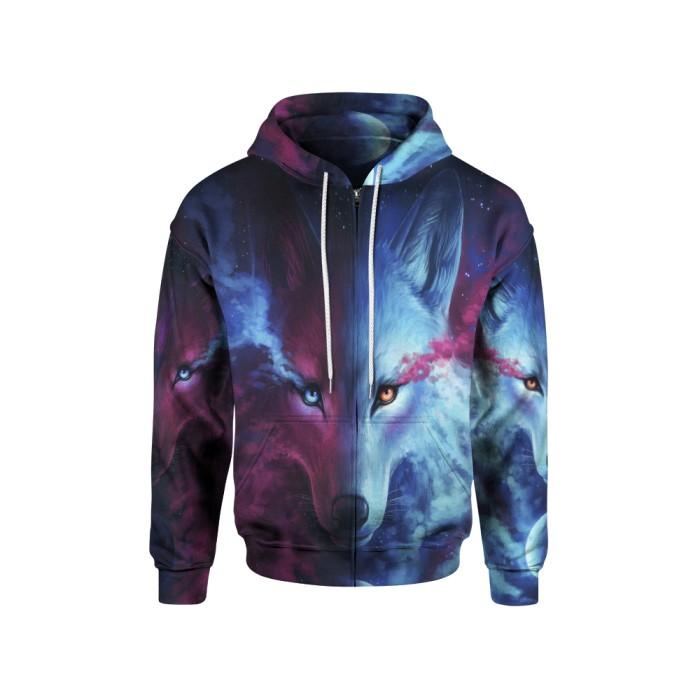Jaket hoodie sweater pria tema wolf 3d  zipper  - art 1