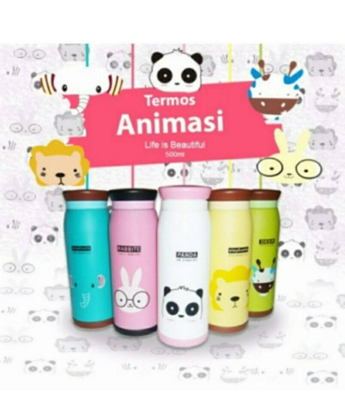 Botol Minum Termos Karakter Animal Stainless Steel 500 ML - Random