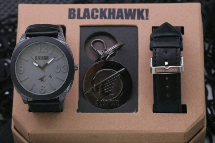 Jam Tangan Pria / Cowok Blackhawk Set Leather / Kulit Black Grey