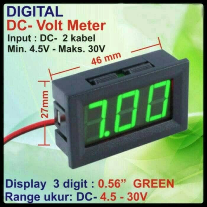 harga Voltmeter digital led green 45-30vdc utk power supply & variasi mobil Tokopedia.com