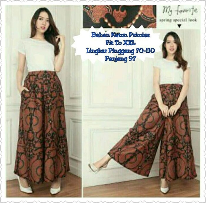 Sb Collection Celana Kulot Rok Batik Pad Wide Jumbo Long Pant Coklat