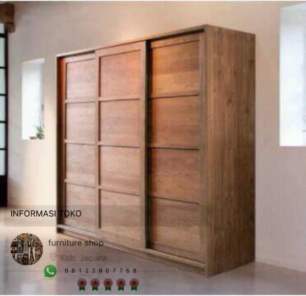 harga Lemari pakaian pintu 3 sliding kayu jati Tokopedia.com
