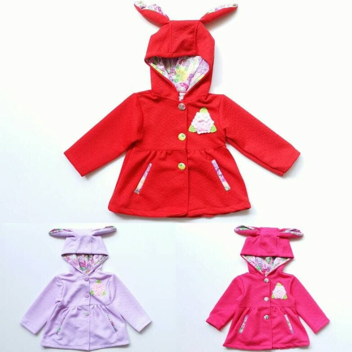 Jaket Hoodie Anak Perempuan Cewek Waffle Bunga Telinga Kelinci 1-2th