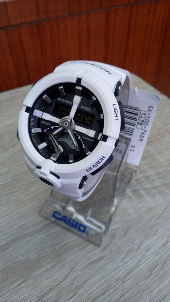 Casio G Shock Ga 500 7adr Jam Tangan Pria Digital White Spec Dan 201tr Resin Gshock Original