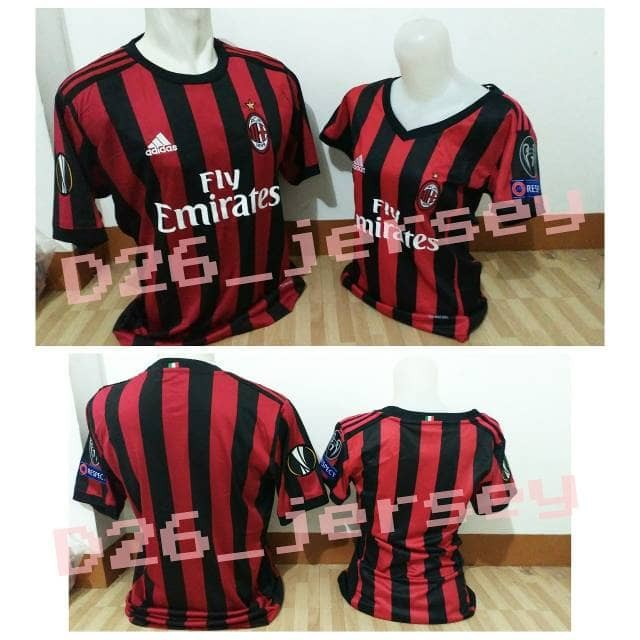 harga Jersey couple ac milan home 2017 / 2018 official + full patch uel Tokopedia.com