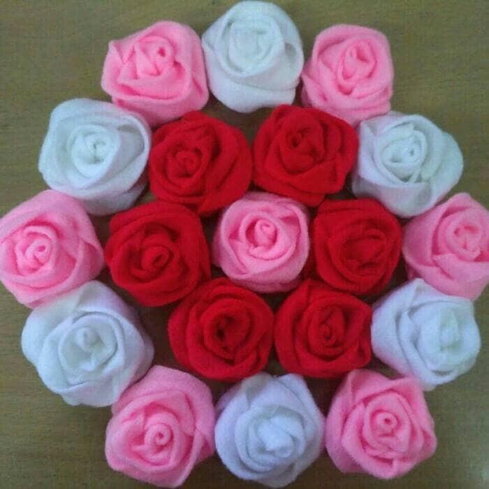 Jual Aplikasi Bunga Mawar Dari Kain Flanel Untuk Membuat Buket