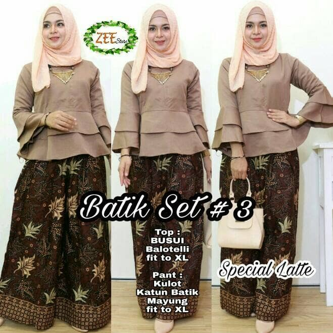 Batik Set 3-atasan wanita baju blouse cewek setelan celana kulot murah a84ccf27fb
