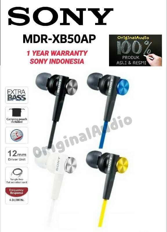 harga Sony mdr xb50ap extra bass earphone garansi resmi Tokopedia.com