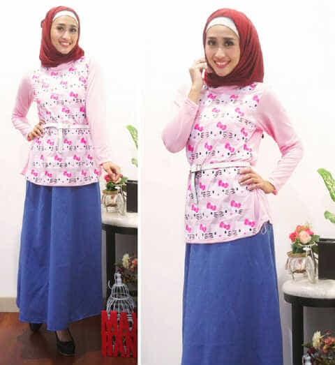Baju Muslim Hijab Syari [St hk hijab FT] tunik wanita spandek pink