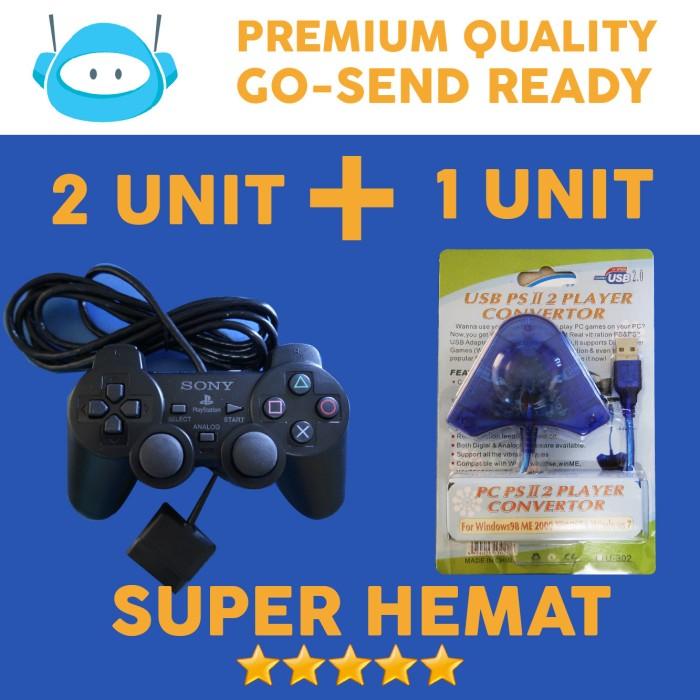 harga Paket 2 stick stik joystick ps2 ori + 1 converter ps3 pc original 100% Tokopedia.com