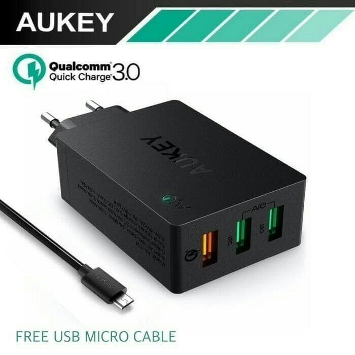 harga Aukey - charger 3 usb ports quick charge 3.0 wall charger pa-t14 Tokopedia.com