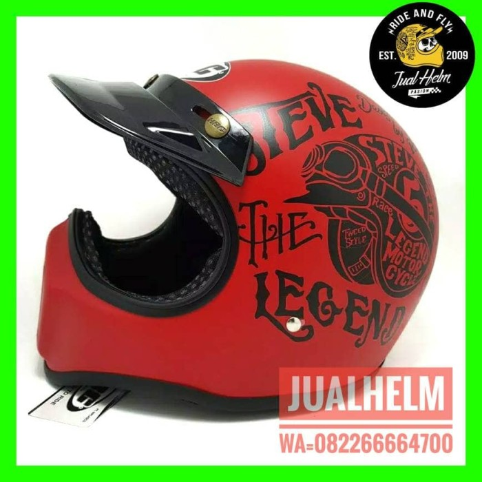 HELM CAKIL HBC STEVE THE LEGEND MERAH FONT HITAM