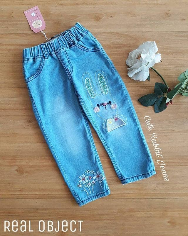 Cute Rabbit Girl Jeans (Large Size)
