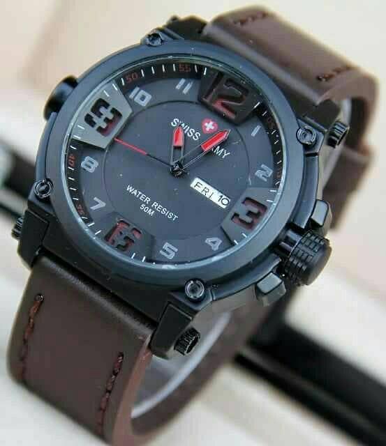 harga Jam tangan pria swiss army kulit coklat tua-merah tanggal & hari aktif Tokopedia.com
