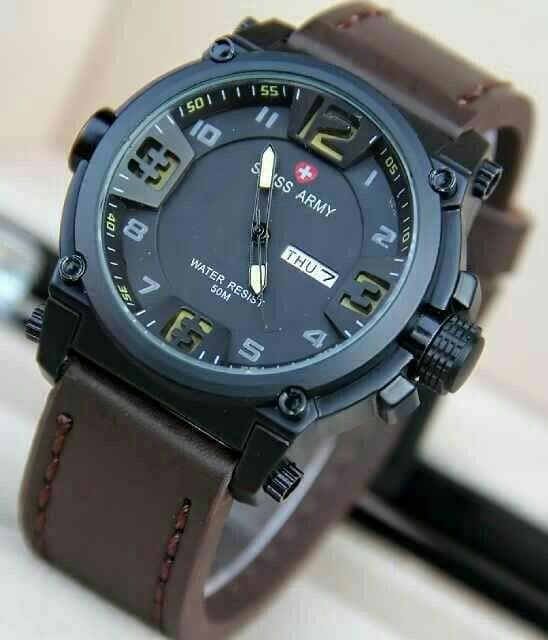 harga Jam tangan pria swiss army kulit coklat tua-kuningtanggal&hari aktif Tokopedia.com