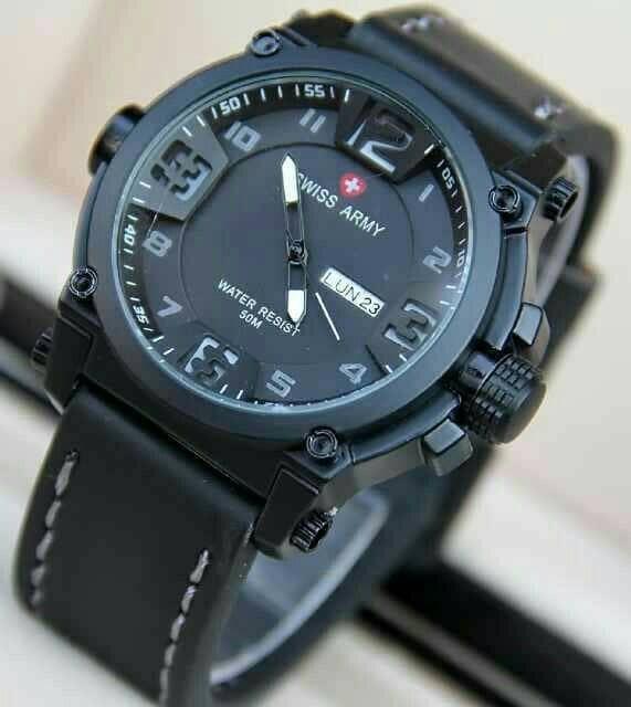 harga Jam tangan pria swiss army kulit hitam-putih tanggal & hari aktif Tokopedia.com