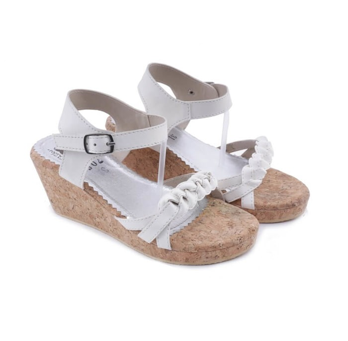 harga Sepatu sandal pesta anak perempuan - wedges putih cantik lucu anak th Tokopedia.com