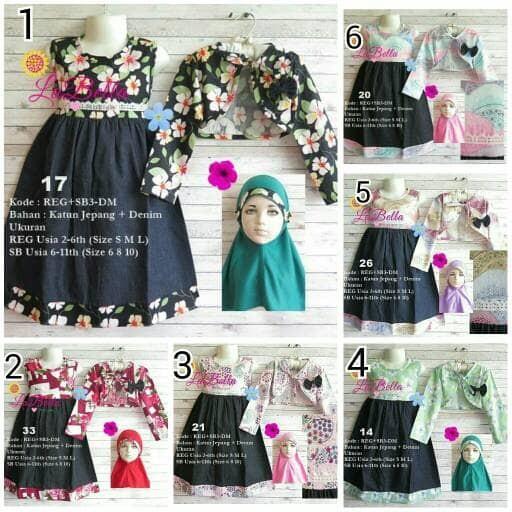harga Gamis labella reg+sb3-dm   gamis anak size 6 8 10   dress muslim Tokopedia.com