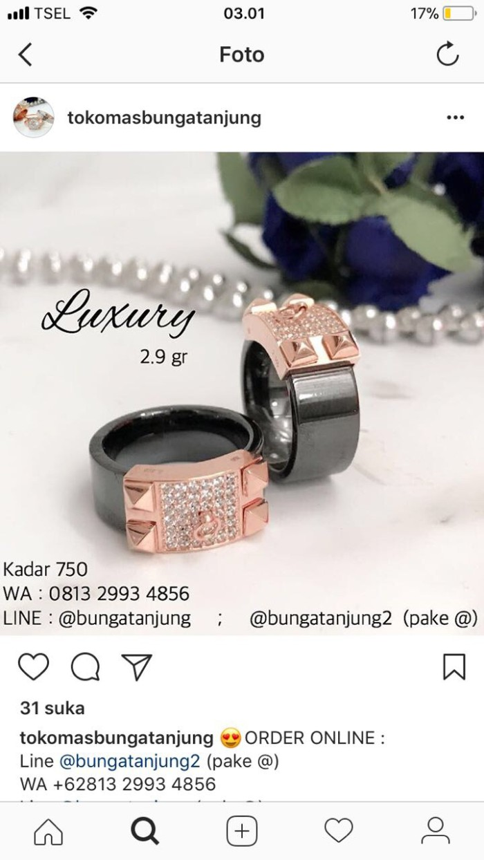 Beli Jam Dan Perhiasan Cincin Di Tokopediacom Melalui Jne Tiaria Dosmjz015 Ring Tunangan Pernikahan Emas Berlian Neno