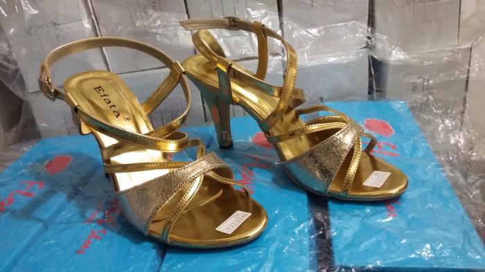 Terbaru Sepatu Wanita Cewek High Heels Krd 14 Gold Terbaru