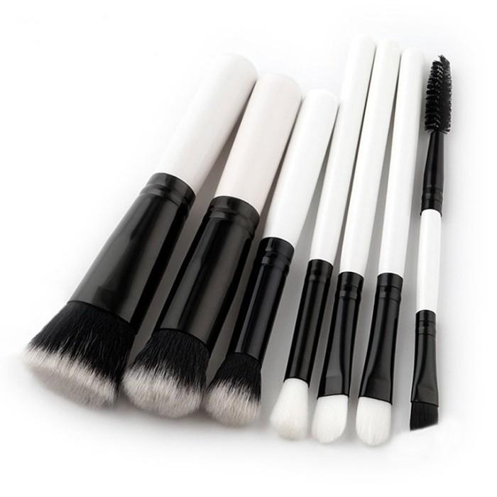 harga 7 pcs - white black makeup brushes set kits powder foundation eyebrow Tokopedia.com