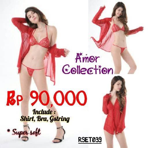 Lingerie seksi kemeja super soft merah (RSET039) By AMOR COLLECTION 14f13c2e47