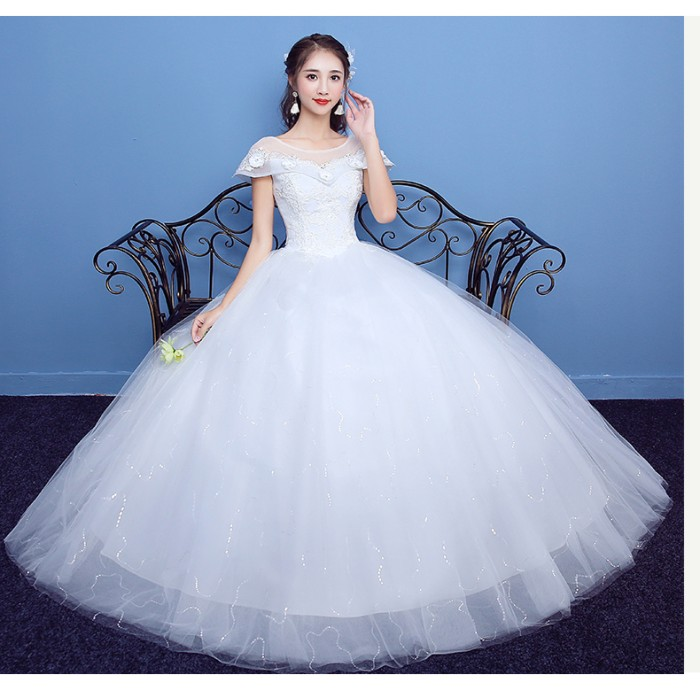 harga 1711006 putih lengan pendek gaun pengantin wedding gown wedding dress Tokopedia.com