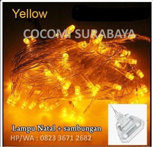 Led lampu natal tumblr kuning twingkle light kabel bening + sambungan