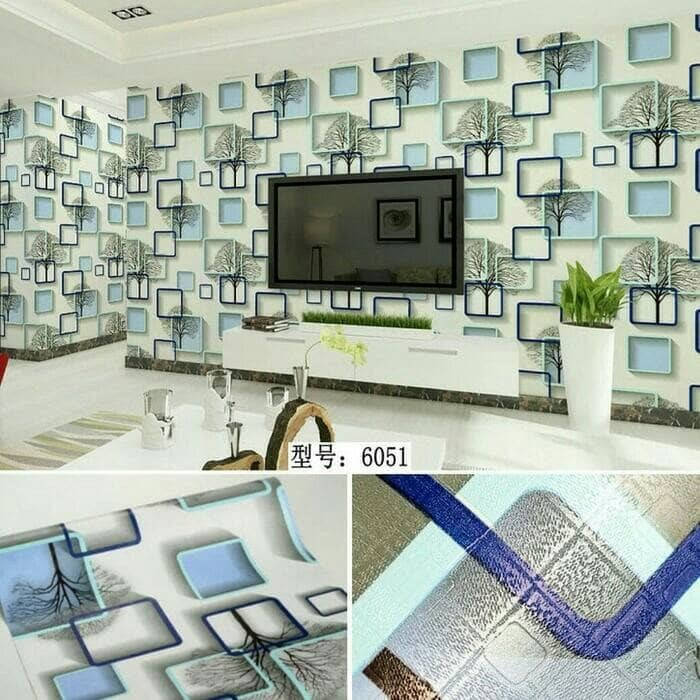 Wallpaper dinding motif shape kotak uk.10mx45cm
