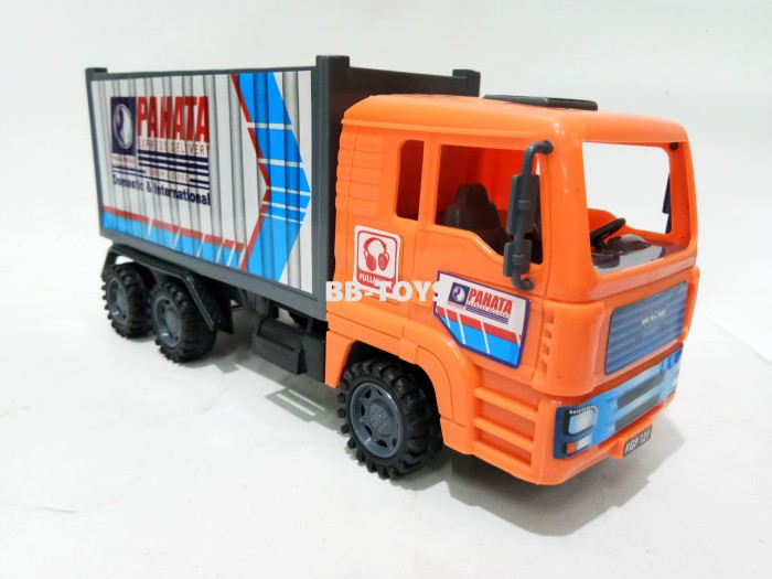 Mainan mobil truk box - mobil truk kargo - cargo - orange