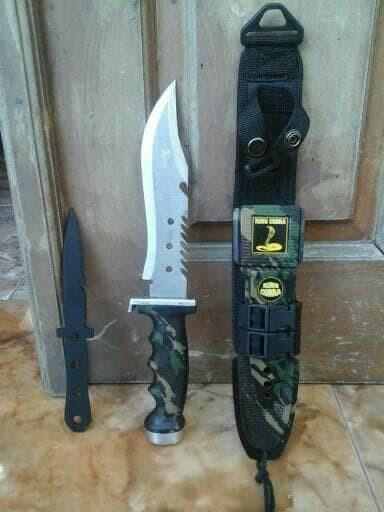 Foto Produk termurah Pisau Sangkur King Cobra Loreng / Pisau TNI Militer Satpam Ou dari barokah112