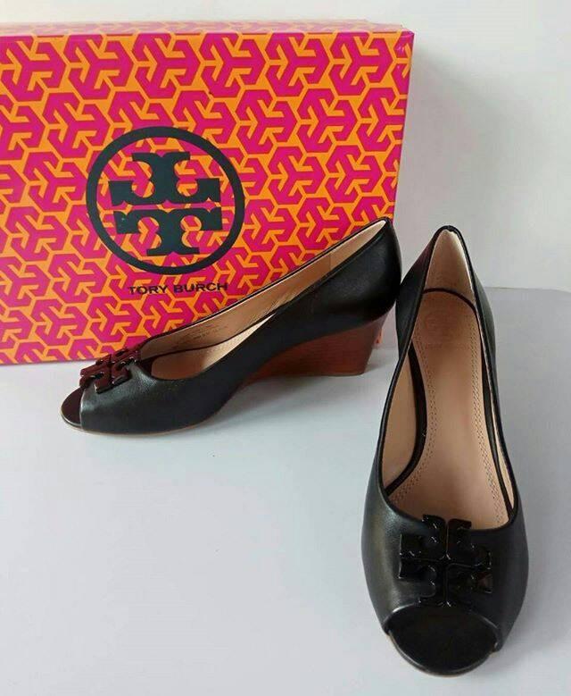 fc62ab1c96b Jual Tory Burch Lowell 2 Peep Toe Wedge black size 6.5   8 - ndstore ...
