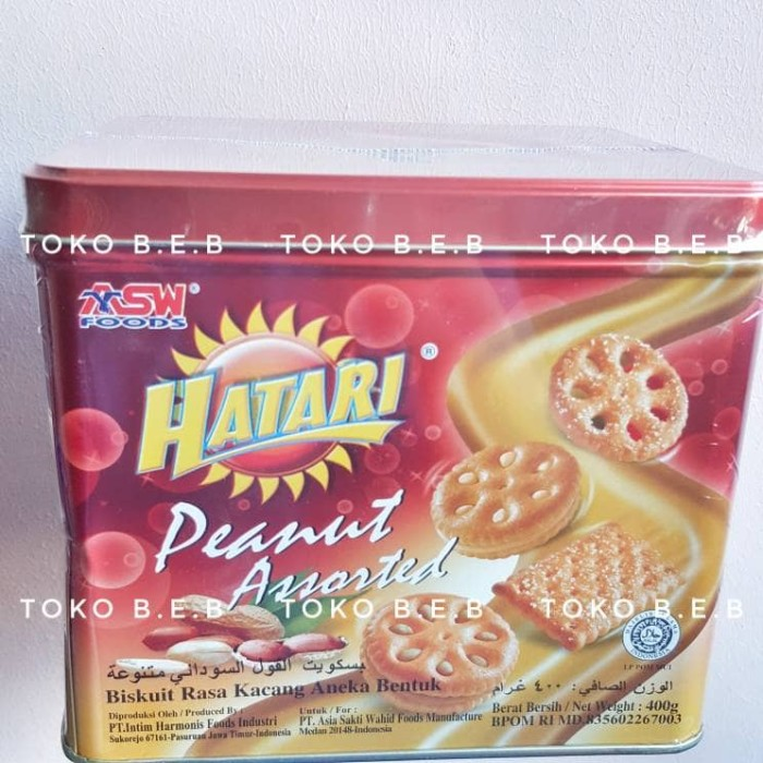 Hatari Peanut Assorted Biskuit 400gr Kaleng Kotak Lebaran