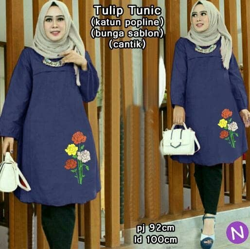 61120 tulip tunic/baju tunik/atasan muslim wanita/baju muslim grosir
