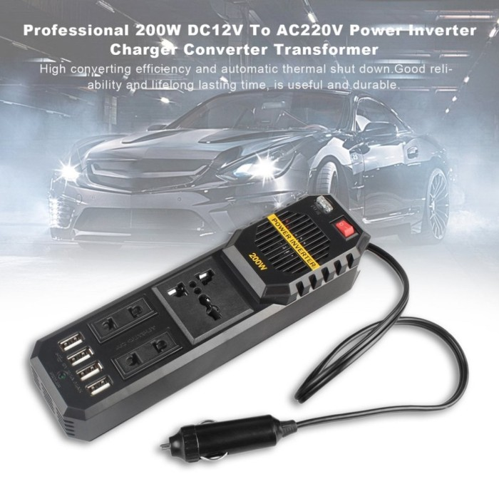 harga 200w 12v power inverter car adaptor charger converter - charger mobil Tokopedia.com