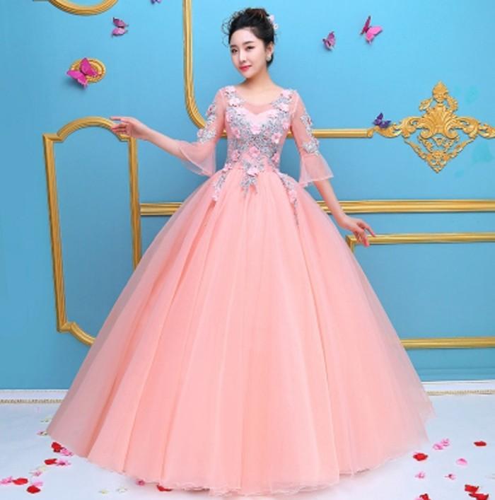 Jual 1711022 Pink Biru Lengan Panjang Gaun Pengantin Gown Wedding