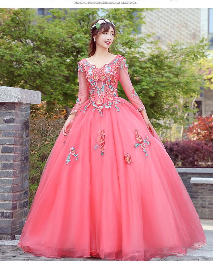 Jual 1711023 Pink Lengan Panjang Gaun Pengantin Gown Wedding Dress