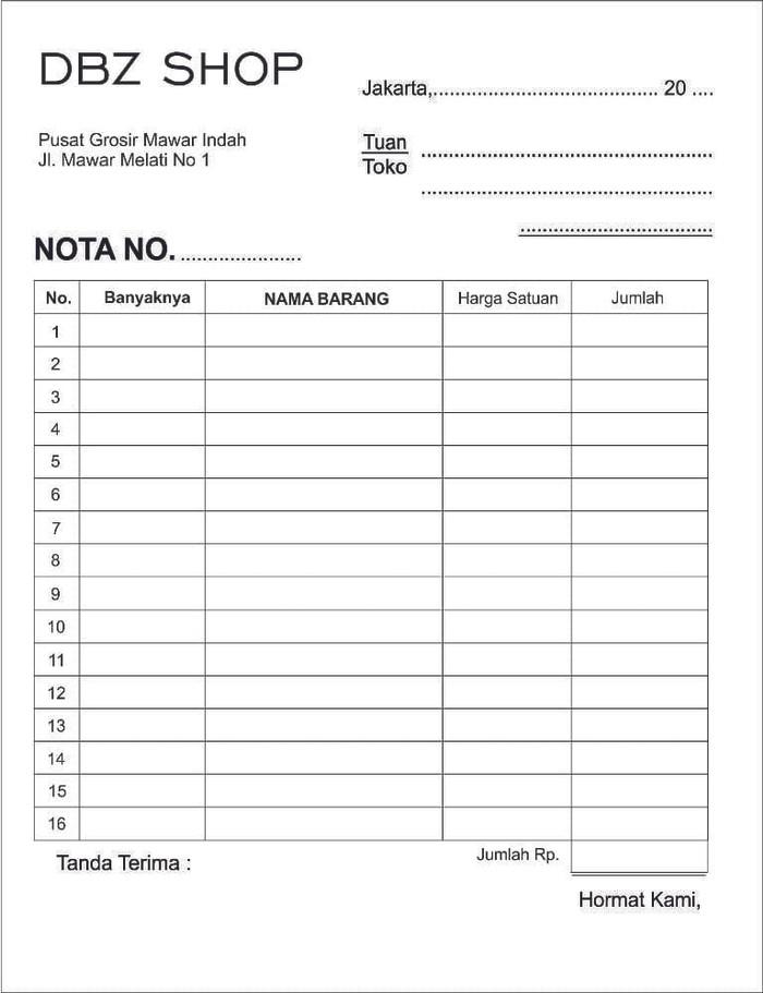 Jual Cetak Nota Bon Surat Jalan Invoice Ukuran 14 Folio 2ply Kota Tangerang Influinc Apparel Tokopedia