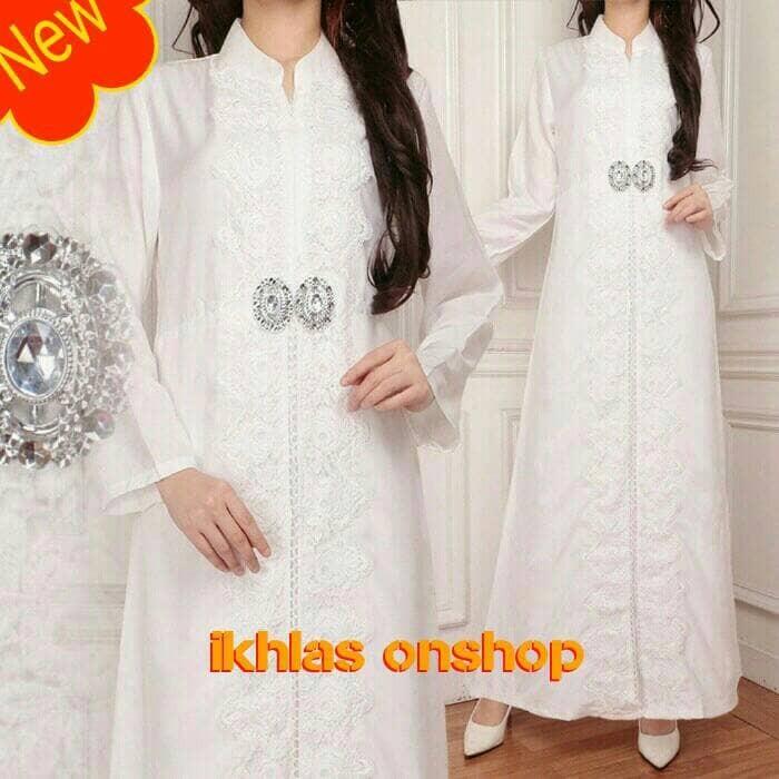 Jual Baju Pesta Baju Muslim Gamis Putih Mewah Elegan Silk Sutera