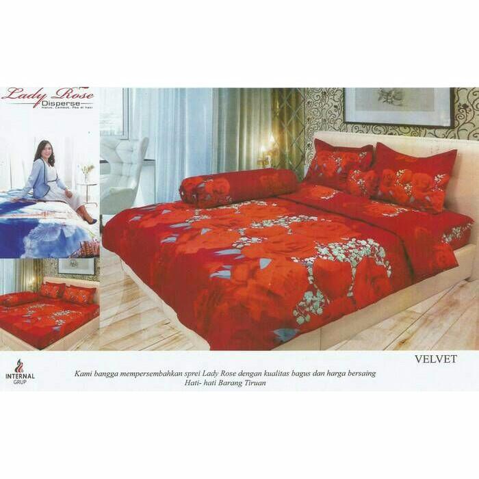 Sprei Lady Rose 160x200 Queen Velvet/ Nyaman Dipakai/ Tidak Pudar