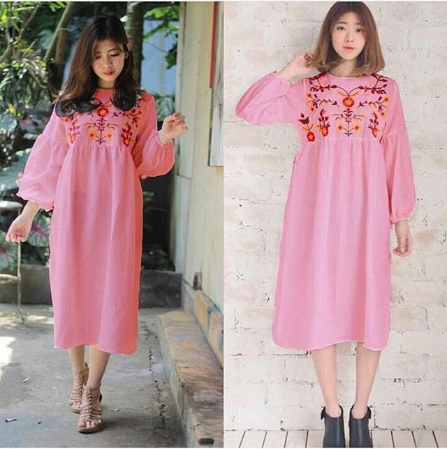 Long dress izuka/Long Dress Murah/Dress Santai/Dress Main/Baju Murah