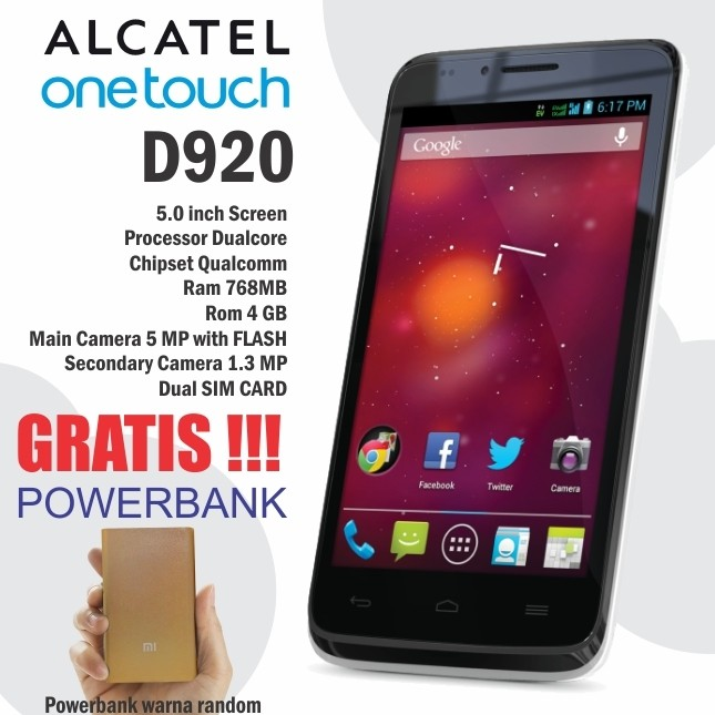 Smartphone Alcatel One Touch Ot D920 Warna Putih Dan Biru Gratis Power