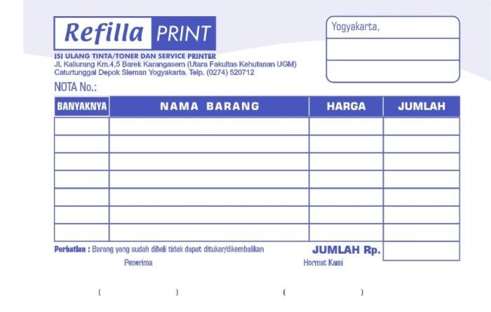 Jual Cetak Nota Bon Surat Jalan Invoice Ukuran 12 Folio 2ply Kota Tangerang Influinc Apparel Tokopedia
