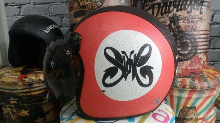 harga Helm band rock retro/klasik/bogo kulit unik kaca bubble halfface sni Tokopedia.com