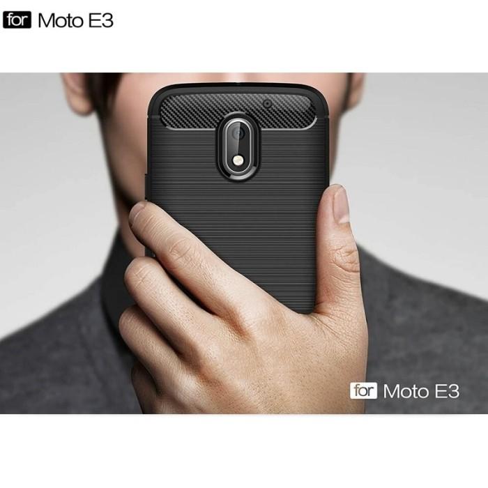 Motorola Moto E3 Power Armor Rugged Slim TPU Soft Case Carbon Design