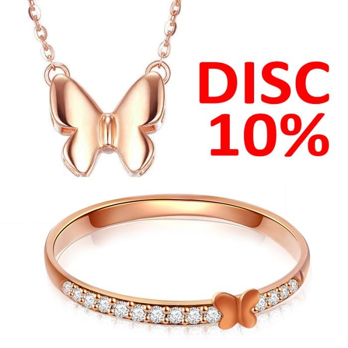 Jual Tiaria Butterfly Jewelry Set Necklace & Ring Perhiasan Emas Wanita Harga Promo Terbaru